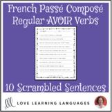 French passé composé with avoir scrambled sentences exercise