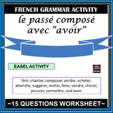 """French – passé composé with """"avoir"""" - worksheet and answer key"""