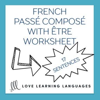 French passé composé with être -  French grammar worksheet