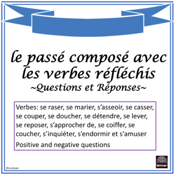 french pass compos with reflexive verbs worksheet questions answers. Black Bedroom Furniture Sets. Home Design Ideas