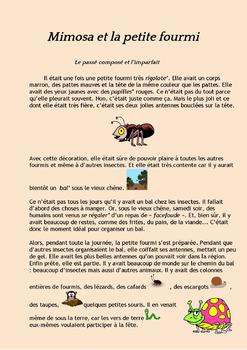 French past tense - Passé Composé - Imparfait - A story : Mimosa et la fourmi