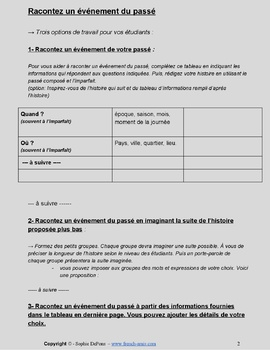 French reading and writing - Past tense - How to tell a story in the past
