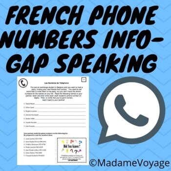 French phone number information gap activity (#s 0-10 practice)