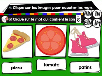 French phonics Boom Cards ou Cartes à Tâches Digitales (Phonème IN-EIN-AIN)