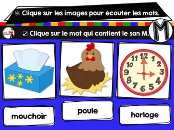 French phonics Boom Cards ou Cartes à Tâches Digitales (Phonème M)
