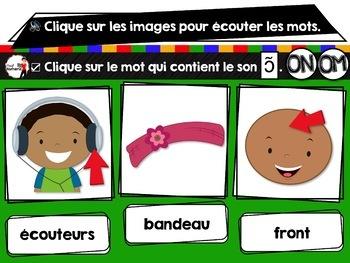 French phonics Boom Cards ou Cartes à Tâches Digitales (Phonème ON-OM)