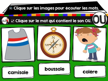 French phonics Boom Cards ou Cartes à Tâches Digitales (Phonème OU)
