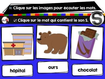 French phonics Boom Cards ou Cartes à Tâches Digitales (Phonème S)