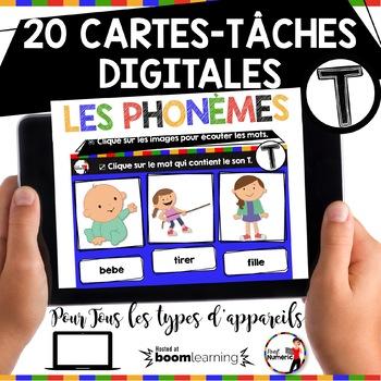 French phonics Boom Cards ou Cartes à Tâches Digitales (Phonème T)