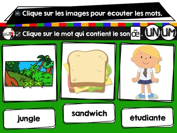 French phonics Boom Cards ou Cartes À Tâches Digitales (Phonème UN-UM) - FREEBIE