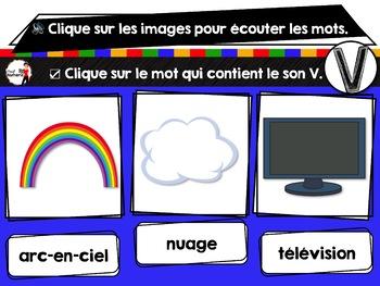 French phonics Boom Cards ou Cartes à Tâches Digitales (Phonème V)