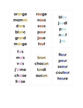 French phonics words