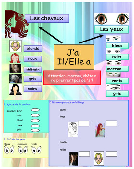 French physical and character description booklet for beginners