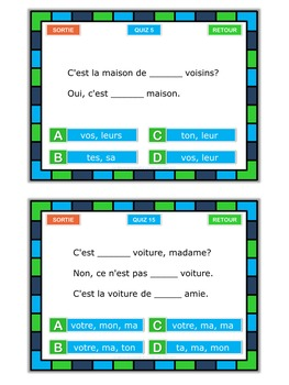 French possessive adjectives  task cards plus PowerPoint quiz