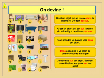 french preposition and furniture ppt for beginners tpt. Black Bedroom Furniture Sets. Home Design Ideas