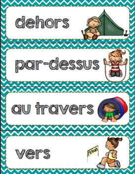 French prepositions activities and posters / Les prépositions en français