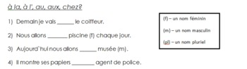 French prepositions of place worksheet