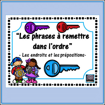 French prepositions + places - scrambled sentences activity