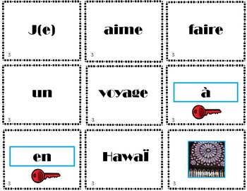 French prepositions + places - scrambled sentences activity