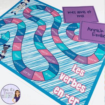 French present tense -er verbs board game JEU DE VERBES EN ER