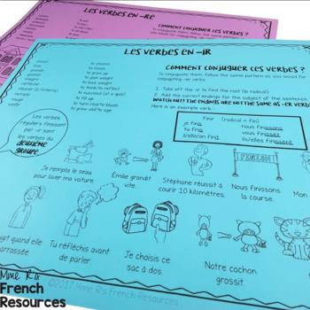 French present tense -ir -re verbs board game LES VERBES EN -IR ET -RE