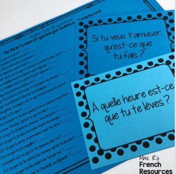 French speaking activity - present tense reflexive verbs COMMUNICATION ORALE
