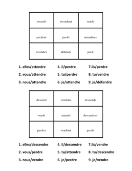"""French """"re"""" Verb Activities - Magic Squares"""