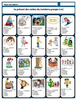 French -re verbs worksheet, les verbes du troisième groupe
