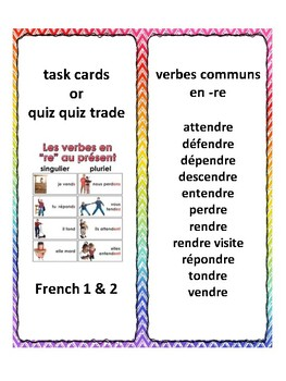 French -re verbs, task cards, quiz quiz trade, speaking in French