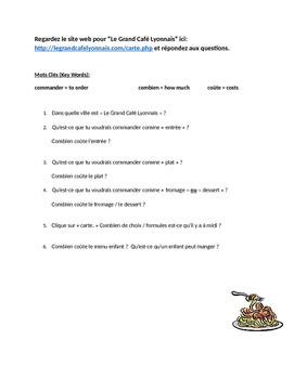 French reading comprehension: French web site activity (restaurant)