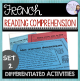 French reading comprehension activities for beginners set 2