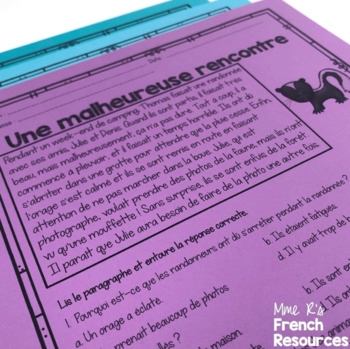 French reading comprehension activities for intermediate students