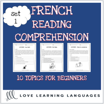 French reading comprehension texts and questions for beginners - SET 1