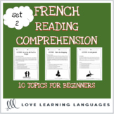 French reading comprehension texts and questions for beginners - SET 2