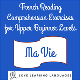French reading comprehension texts and questions for upper beginner levels