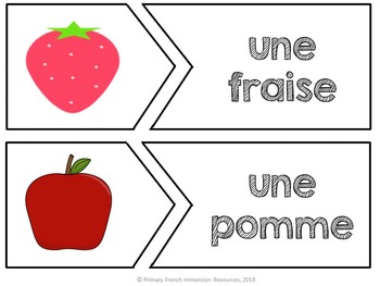 French reading game - Match the picture to the word - Jeu de lecture