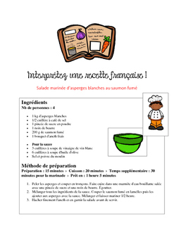 Recipes French Teaching Resources