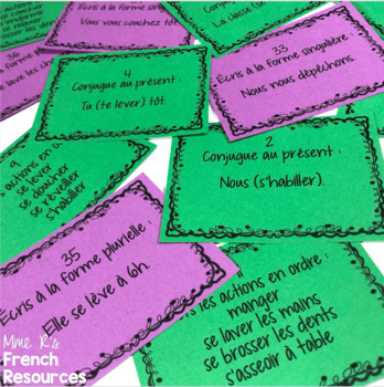 French reflexive verbs Scoot + task cards/cartes à tâches, verbes pronominaux