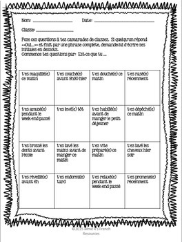 French reflexive verbs speaking activities bundled