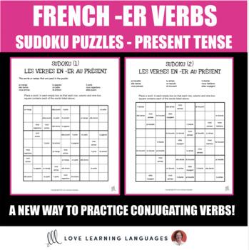 French regular -ER verbs present tense sudoku games