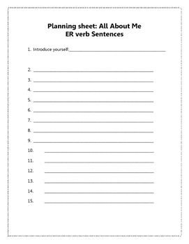 French regular ER verbs project and review worksheet