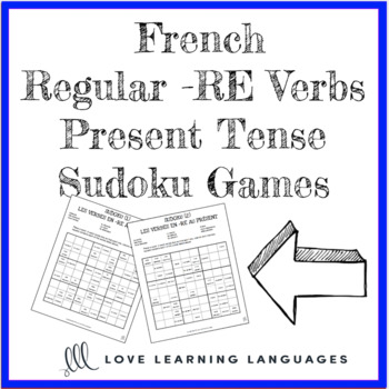 French regular -RE verbs present tense sudoku games