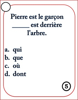 French relative pronouns task cards and worksheet