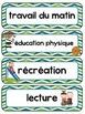 Horaire et les étiquettes d'identification (Schedule cards, name tags, labels)