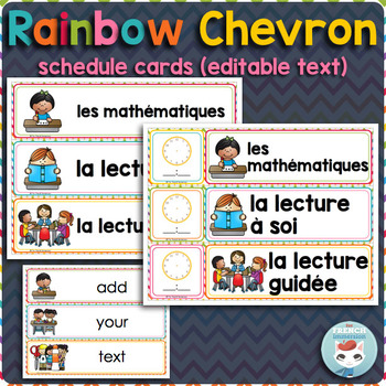 French schedule cards RAINBOW CHEVRON