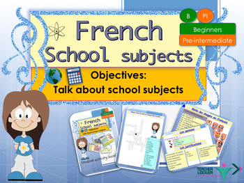 French school subjects, les matières scolaires booklet for