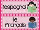 French school subjects word wall MUR DE MOTS LES MATIÈRES