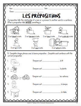 French nouns and prepositions speaking and writing activities