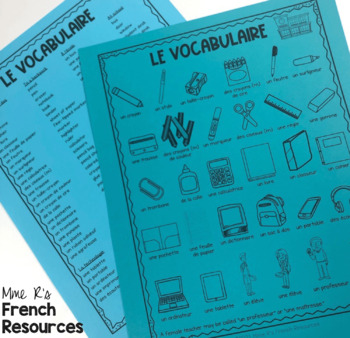 French school supplies game and flashcards FOURNITURE SCOLAIRES