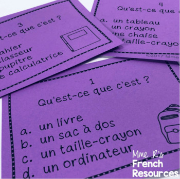 French school supplies vocabulary task cards and scoot game L'ECOLE